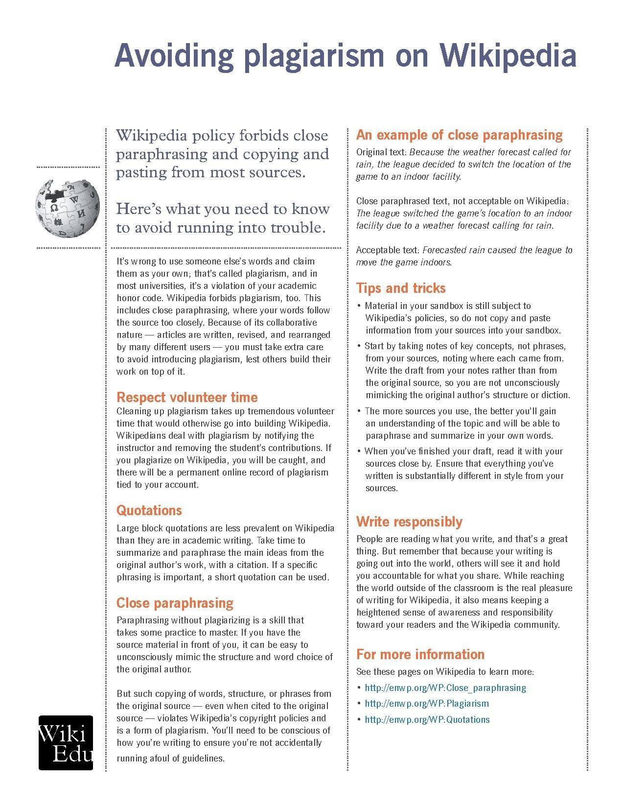 wikipedia advice on writing original content