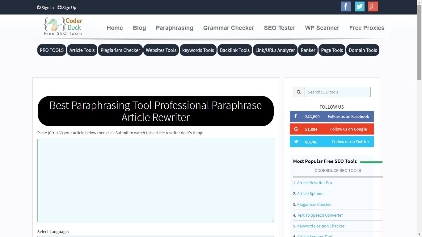 coderduck.com best paraphrasing tool online