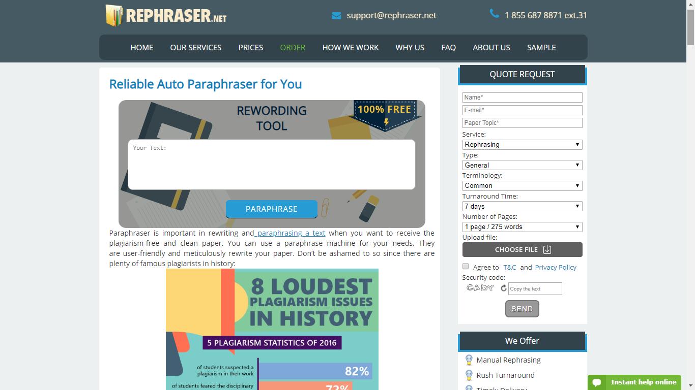 rephraser.net best paraphrasing tool online