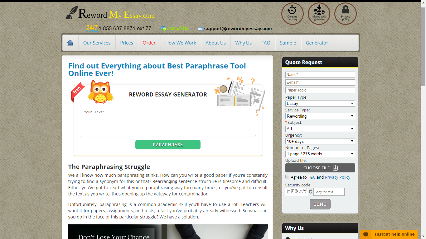 rewordmyessay.com best paraphrasing tool online